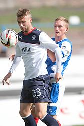 Falkirk's Rory Loy and Cowdenbeath's Dean Brett.<br /> Half time; Cowdenbeath v Falkirk, 14/9/2013.<br /> &copy;Michael Schofield.