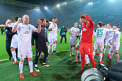 05.02.2019, Signal Iduna Park, Dortmund, GER, DFB Pokal, Borussia Dortmund vs SV Werder Bremen, Achtelfinale, im Bild feiernde Bremer nach dem Sieg im Elfmeterschiessen bei Fern vor dem Gästeblock, Davy Klaassen (SV Werder Bremen #30), links, Max Kruse (SV Werder Bremen #10) und Martin Harnik (SV Werder Bremen #9) in der Mitte, Jiri Pavlenka (SV Werder Bremen #1) kratzt sich am Kopf im Vorderrund // during the German Pokal round of 16 match between Borussia Dortmund and SV Werder Bremen at the Signal Iduna Park in Dortmund, Germany on 2019/02/05. EXPA Pictures © 2019, PhotoCredit: EXPA/ Andreas Gumz<br /> <br /> *****ATTENTION - OUT of GER*****