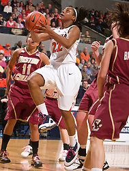 Virginia forward Monica Wright (22) shoots a layup against BC.  The #21 ranked Virginia Cavaliers defeated the Boston College Eagles 90-70 at the John Paul Jones Arena in Charlottesville, VA on February 22, 2009.