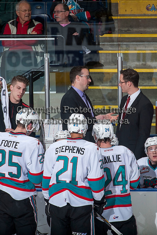 KELOWNA, CANADA - FEBRUARY 6: Kris Mallette and Brad Ralph, coaches of the Kelowna Rockets converse on the bench against the Calgary Hitmen on February 6, 2016 at Prospera Place in Kelowna, British Columbia, Canada.  (Photo by Marissa Baecker/Shoot the Breeze)  *** Local Caption *** Brad Ralph; Kris Mallette;