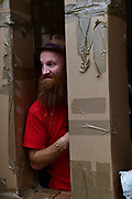 20/07/2018 repro free:  The People Build at Galway International Arts Festival will see hundreds of volunteers, and the general public, create two large-scale and highly ambitious structures solely from cardboard. Under the guidance of artist Olivier Grossetete and his team, the public will transform thousands of cardboard boxes into a structure to replicate St. Nicholas&rsquo; Church in Galway. It is being constructed on Eyre Square in Galway today. On Sunday July 22 at 6pm the public will join forces in a massive celebratory demolition, which will see the cardboard building come tumbling down. <br /> <br /> A second structure will consist of a cardboard bridge being built at Waterside in Galway. It will be floated on the water, serving as a testimony to Galway&rsquo;s River Corrib Viaduct, once part of the famous Galway to Clifden Railway. The build will take place on Saturday July 21 and will be demolished on Sunday July 22 at 3pm. <br />  . Photo:Andrew Downes, XPOSURE