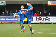AFC Wimbledon striker Cody McDonald (10) controlling the ball during the The FA Cup match between AFC Wimbledon and Charlton Athletic at the Cherry Red Records Stadium, Kingston, England on 3 December 2017. Photo by Matthew Redman.