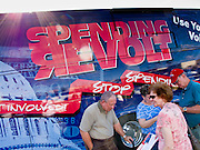 Aug 9, 2010 - SUN CITY WEST, AZ: Residents of Sun City West wait for the Spending Revolt Bus event to start Monday morning. The Spending Revolt Bus stopped in Sun City West, a retirement community northwest of Phoenix, Monday. Spending Revolt is a new coalition of taxpayers and business owners concerned about government spending. The bus is attracting Republican and Tea Party affiliated candidates to its events. The bus has crisscrossed Nevada, California and Arizona and is heading east to Washington DC.   Photo by Jack Kurtz / ZUMA Press