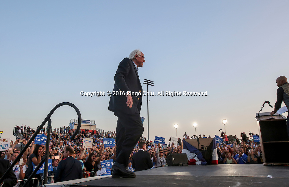 Democratic presidential candidate Bernie Sanders arrives at a rally at Ganesha High School Stadium in Pomona Calif., on May 26, 2016.(Photo by Ringo Chiu/PHOTOFORMULA.com)<br /> <br /> Usage Notes: This content is intended for editorial use only. For other uses, additional clearances may be required.