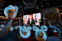 President Bush appears on screen during the second day of the Republican National Convention inside the Xcel Energy Center in St. Paul, Minnesota, Tuesday, September 2, 2008.