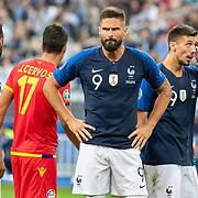PARIS, FRANCE - September 10: Olivier Giroud #9 of France during the France V Andorra, UEFA European Championship 2020 Qualifying match at Stade de France on September 10th 2019 in Paris, France (Photo by Tim Clayton/Corbis via Getty Images)