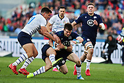 George Horn of Scotland (C) and Tommaso Allan of Italy (L) in action during the Guinness Six Nations 2020, rugby union match between Italy and Scotland on February 22, 2020 at Stadio Olimpico in Rome, Italy - Photo Federico Proietti / ProSportsImages / DPPI