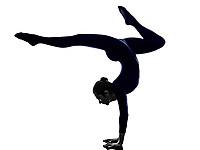 woman exercising Eka Pada Viparita Dandasana pose yoga silhouette shadow white background