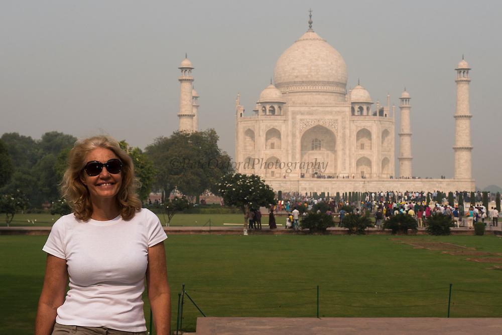 Taj Mahal & Renee<br /> Agra<br /> Uttar Pradesh,  India<br /> UNESCO World Heritage Site