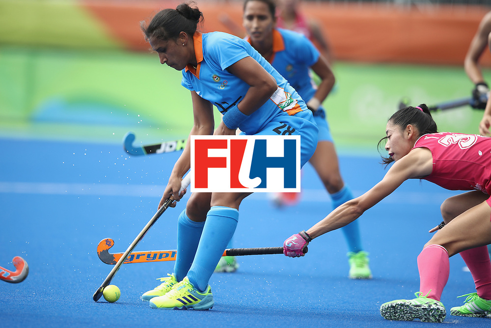 RIO DE JANEIRO, BRAZIL - AUGUST 07:  Rani of India controls the ball in front of goal during the women's pool B match between Japan and India on Day 2 of the Rio 2016 Olympic Games at the Olympic Hockey Centre on August 7, 2016 in Rio de Janeiro, Brazil.  (Photo by Mark Kolbe/Getty Images)