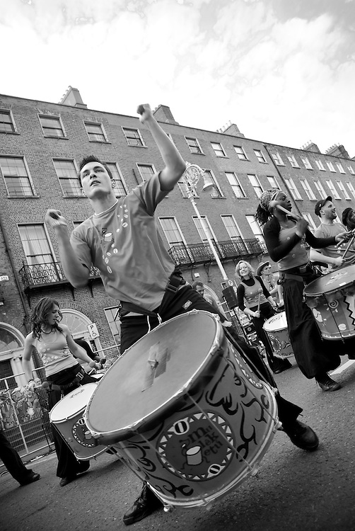 A group drummers performing on the streets of Dublin during the 2009 St. Patrick's Festival. Since it's establishment in 1995 the St. Patrick's Festival has become the biggest festival in Ireland. It takes place annually on or around St. Patrick's Day, the 17th of March. The highlight of the festival is the St. Patrick's Day Parade which winds it's way through the streets of Dublin on St. Patricks Day.