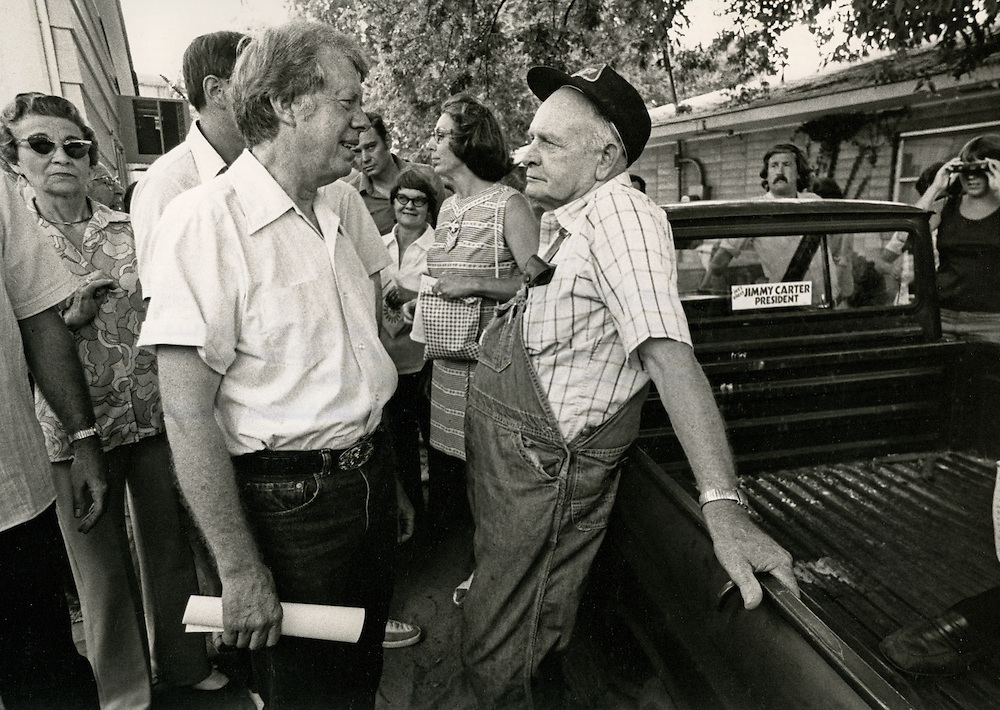 Governor Jimmy Carter campaigning town to town in Missouri early in the 1976 presidential primary races. - To license this image, click on the shopping cart below -
