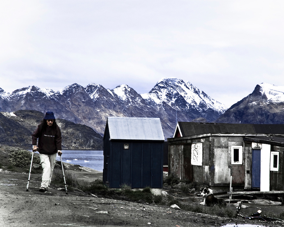 C-type photographic prints, 63 x 83 cm, limited edition of 7, 2006-2007<br /> <br /> <br /> Lonely Place dwellers:<br /> <br /> The core concept explores how solitary individuals create a community based on survival instinct in a harsh remote environment..  The idea of the projects was to focus on isolated and geographically distant parts of the world as I too am from Iceland, and understand the remoteness of certain regions.<br /> <br /> Clearly Remote is a series which deals with people of our world the austere isolation of whose 'human condition' stands in such stark contrast to the 'over-developed' banal satieties of  present day urbanity.  The photographs show the inhabitants within those magnificent natural surrounding of Greenland, which initially might strike our 'romanticized' eye as 'fabulous' but whose great untamed vastness for the 200 hundred souls who eke out their daily existence induce a sense of humility possibly quite 'unknown' to us. Such sensations for us are buried in a primeval past, over which 'civilization' imposes a continuous patina of 'distraction'.  An intuition was also borne out in a kind of 'corporeal parallel' when I happened upon a Saturday night dance whose sheer energy of abandon conjured an atmosphere quite startling in its natural vividness. Such an energy exists nowhere in the world but Kulusukk.