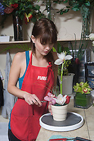 Florist works in garden centre