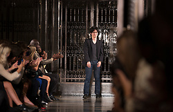 © Licensed to London News Pictures. 14/09/2012. London, England. Catwalk show of designer Timur Kim at Freemason's Hall, Vauxhall Fashion Scout, during London Fashion Week. Photo credit: Bettina Strenske/LNP