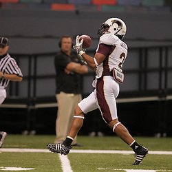 20 September 2008: Louisiana-Monroe safety Greg James (2) intercepts a pass during a Conference USA match up between the University of Louisiana Monroe and Tulane at the Louisiana Superdome in New Orleans, LA.