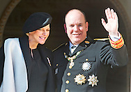 19-11-2014 MONACO - Princess Charlene of Monaco and prince Albert , Princess Caroline, Pierre and Andrea Cashiraghi and Princess Stephanie of Monaco  on the balcony of the Royal Palace in Monaco during the celebrations of the National day of Monaco. COPYRIGHT ROBIN UTRECHT