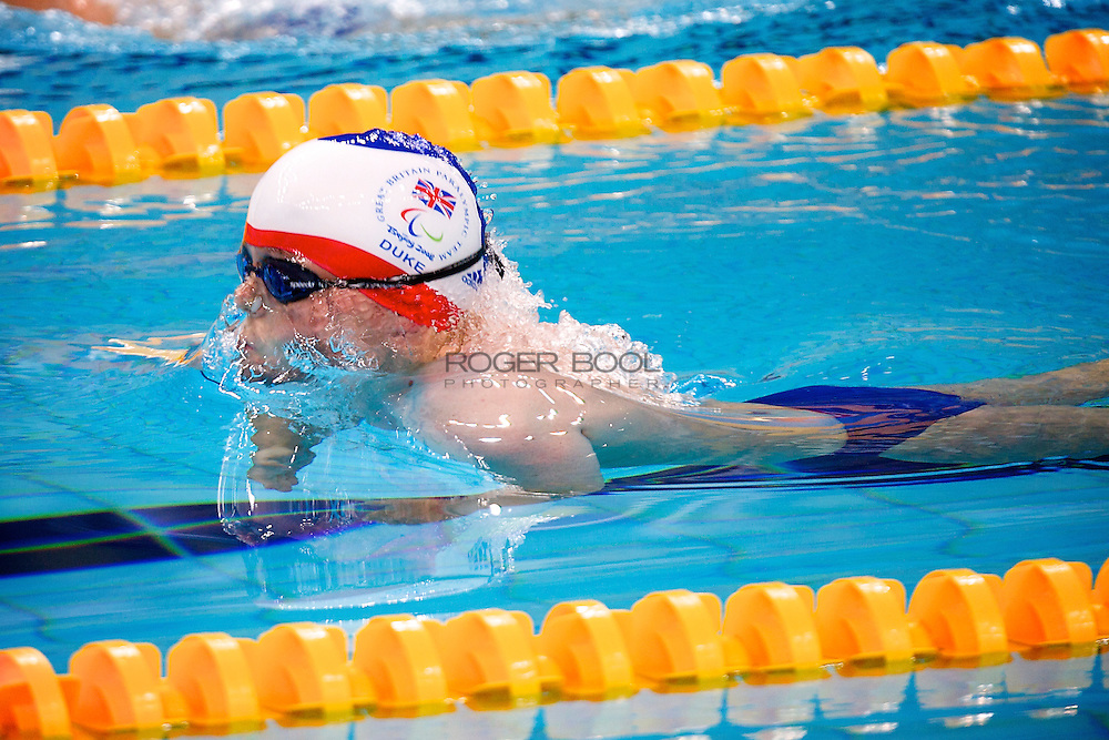 Gareth Duke of Great Britain in The National Aqautics Centre swimming in the Men's 100 metre Breaststroke SB 6 final at the Paralympic games, Beijing, China. 12th  September 2008