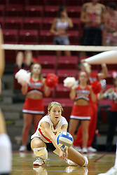 21 September 2007: M.C. Richmond scrubs the floor for a dig. The Wichita State Shockers bested the the Illinois State Redbirds on the floor of Doug Collins Court in Redbird Arena on the campus of Illinois State University in Normal Illinois taking the match in three games.