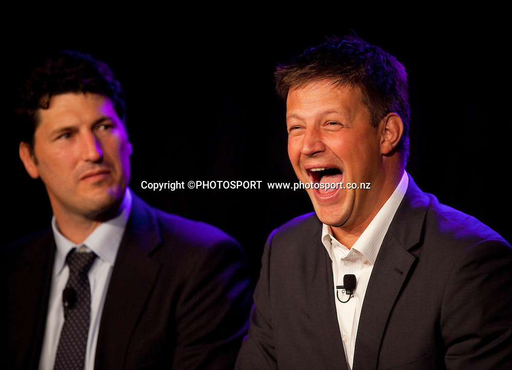 John Eales and Bobby Skinstad during the debate at the Westpac International Rugby Legends Gala Dinner held at Addington Events Centre. Christchurch, New Zealand. Thursday 26 May 2011. Joseph Johnson/photosport.co.nz.