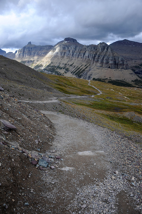 Hidden Lake Trail runs along the edge of a lateral moraine at Logan Pass, Glacier National Park, Montana , Tuesday, October 7, 2014. The Garden Wall is in the distance.
