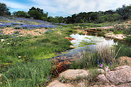 Coal Creek runs through pink granite and wildflowers.  Numerous small rivers originate throughout the Hill Country, fed by springs and creeks common in the karst geology.