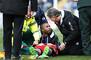 Treatment on a serious neck injury to  Ben Stevenson  during the EFL Sky Bet League 1 match between Rochdale and Coventry City at Spotland, Rochdale, England on 17 April 2017. Photo by Daniel Youngs.