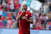 Bristol Aaron Wilbraham (18) celebrates his goal. Making it <br /> 1-1. during the EFL Sky Bet Championship match between Bristol City and Derby County at Ashton Gate, Bristol, England on 17 September 2016. Photo by Gary Learmonth.
