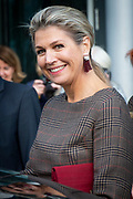 Koningin Maxima aanwezig en houdt een toepraak bij werkconferentie SchuldenlabNLin het kantoor van de Rabobank Group in Utrecht.<br /> <br /> Queen Maxima attended and held a speech at the SchuldenlabNL working conference in the Rabobank Group office in Utrecht.