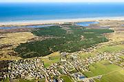 Nederland, Friesland, Terschelling, 28-02-2016; het dorp Hoorn met middeleeuwse Sint Janskerk.<br /> Wadden island Terschelling with vollage Hoorn, North sea. <br /> luchtfoto (toeslag op standard tarieven);<br /> aerial photo (additional fee required);<br /> copyright foto/photo Siebe Swart