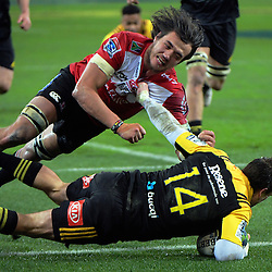 Cory Jane scores during the Super Rugby final match between the Hurricanes and Lions at Westpac Stadium, Wellington, New Zealand on Saturday, 6 August 2016. Photo: Dave Lintott / lintottphoto.co.nz