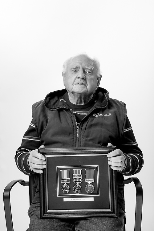 Bill McMahon, Royal Air Force, Aircraftsman Cass 1,  1945-1948, RAF Groundcrew.  Bill is pictured with his campaign medals presented for service in Palestine, Aiden and the Persian Gulf.  He is totaly blind and is a regular visitor to the Scottish War Blinded centre, Veterans Portrait Project UK, Edinburgh, Scotland