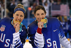 February 22, 2018 - Gangneung, South Korea - (L-R) MEGHAN DUGGAN and HILARY KNIGHT celebrate with the USA team after winning the Ice Hockey: Women's Gold Medal Game against Canada at Gangneung Hockey Centre during the 2018 Pyeongchang Winter Olympic Games.  (Credit Image: © Jon Gaede via ZUMA Wire)