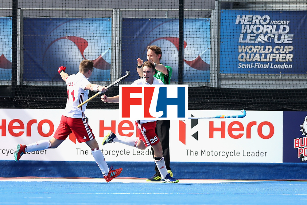 LONDON, ENGLAND - JUNE 17:  Christopher Griffiths of England celebrates scoring the second goal for England during the Hero Hockey World League Semi Final match between England and Malaysia at Lee Valley Hockey and Tennis Centre on June 17, 2017 in London, England.  (Photo by Alex Morton/Getty Images)
