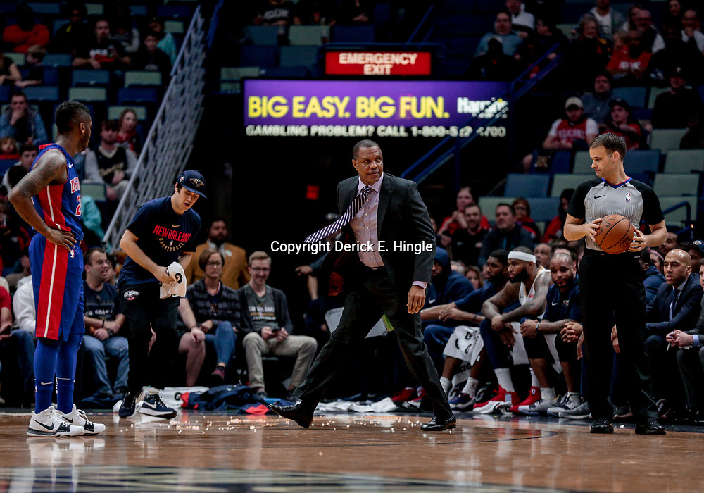 Jan 8, 2018; New Orleans, LA, USA; New Orleans Pelicans head coach Alvin Gentry on the court during a stoppage in play due to a fan throwing pop corn onto the court during the first quarter against the Detroit Pistons at the Smoothie King Center. Mandatory Credit: Derick E. Hingle-USA TODAY Sports