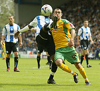 Photo: Aidan Ellis.<br /> Sheffield Wednesday v Norwich City. Coca Cola Championship. 06/05/2007.<br /> Norwich's Andy Hughes (R) battles with Sheffield's Jermain Johnson