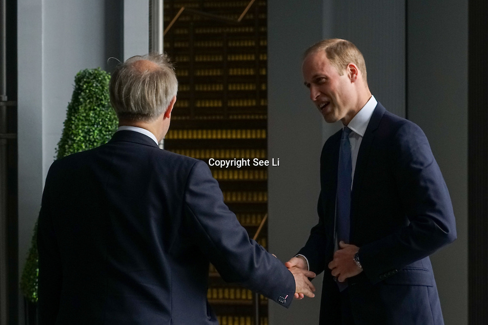 London,England,UK: 22th /September 2016: Prince WilliamThe Duke of Cambridge attend Tusk's Time For Change at The Shard, London. Photo by See Li. Photo by See Li