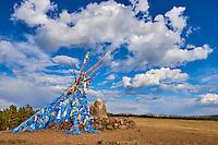 Mongolie, Province du Khentii, Dadal, ovoo sacré chamanique qui désigne le lieu de naissance de Gengis Khan // Mongolia, Khentii province, Dadal, sacred ovoo chamanique, the place of the birth of Gengis Khan