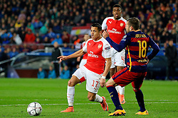 Arsenal's Alexis Sanchez and Jordi Alba of Barcelona  - Mandatory byline: Matt McNulty/JMP - 16/03/2016 - FOOTBALL - Nou Camp - Barcelona,  - FC Barcelona v Arsenal - Champions League - Round of 16
