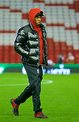 LIVERPOOL, ENGLAND - Wednesday, March 2, 2016: Liverpool's Daniel Sturridge walks across the pitch as he arrives before the Premier League match against Manchester City at Anfield. (Pic by David Rawcliffe/Propaganda)