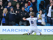 Leeds United defender Liam Cooper (6) levels the score during the Sky Bet Championship match between Leeds United and Brighton and Hove Albion at Elland Road, Leeds, England on 17 October 2015.