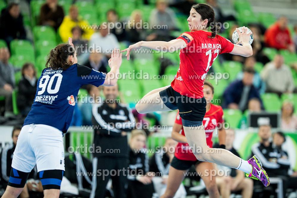 Milena Knezevic of Buducnost vs Mirjeta Bajramovska #13 of Krim Mercator during handball match between RK Krim Mercator (SLO) and RK Buducnost (MNE) in Round #3 of Main Round of EHF Women's Champions League 2014/15, on February 13, 2015 in Arena Stozice, Ljubljana, Slovenia. Photo by Vid Ponikvar / Sportida