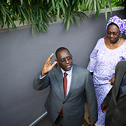 February 29, 2012 - Dakar, Senegal: Senegalese presidential candidate Macky Sall arrives at Terrou-Bi Hotel in central Dakar, to address the journalists in the first press conference since election day. According to the provisory results of last Sunday's presidential election, is now confirmed that Macky will be running against the former president and candidate Abdoulaye Wade in a second round of the elections, in a date yet to be defined. (Paulo Nunes dos Santos/Polaris)