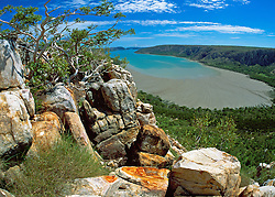 View over Dugong Bay on the Kimberley coast at low tide.