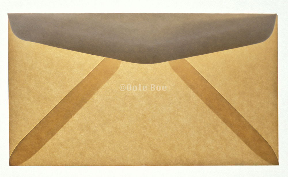 Tan and gray translucent envelope