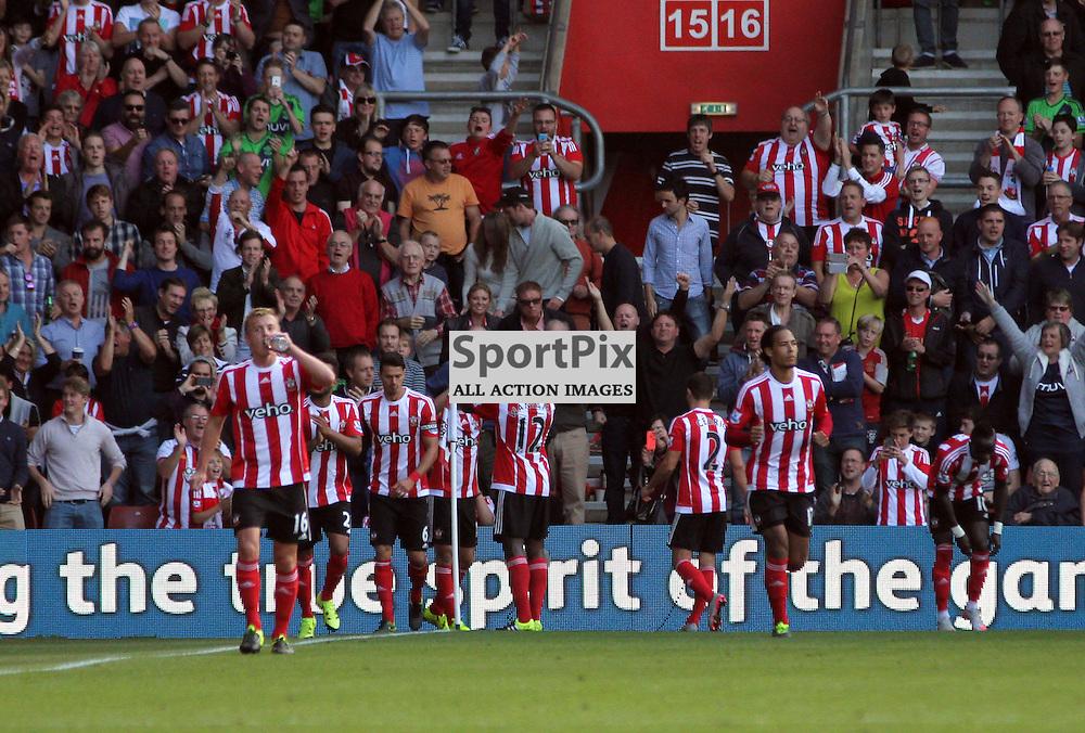Southampton celebrate During Southampton vs Swansea on Saturday 26th September 2015.