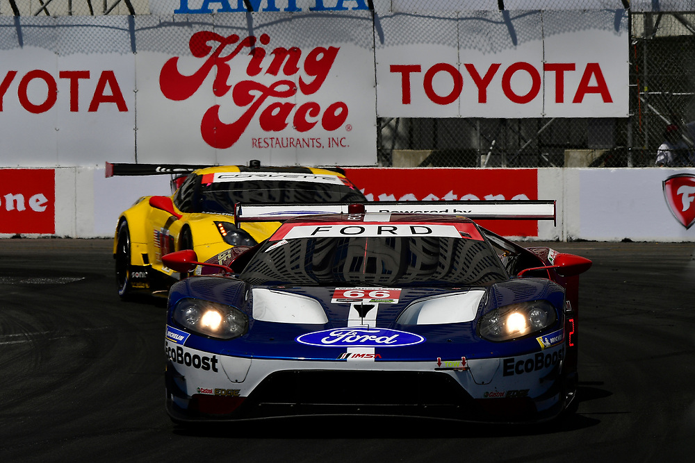 #66 Chip Ganassi Racing Ford GT, GTLM: Dirk M&uuml;ller, Joey Hand<br /> Saturday 14 April 2018<br /> BUBBA burger Sports Car Grand Prix at Long Beach<br /> Verizon IndyCar Series<br /> Streets of Long Beach CA USA<br /> World Copyright: Scott R LePage<br /> LAT Images