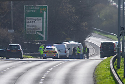 © Licensed to London News Pictures. 17/03/2020. London, UK. A forensic tent on the A40 as police investigate. The A40 eastbound has been closed after Swakeleys roundabout after the body of a man a body was found in the carriageway at     approximately 04:20 GMT. Photo credit: Peter Manning/LNP