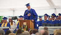 Timothy Johnson speaks to the crowd during Inter Lakes commencement ceremony held at Prescott Park Saturday morning.  (Karen Bobotas/for the Laconia Daily Sun)