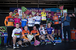 The jersey winner celebrate on the podium after Stage 5 of the Healthy Ageing Tour - a 117.9 km road race, starting and finishing in Borkum on April 9, 2017, in Groeningen, Netherlands.